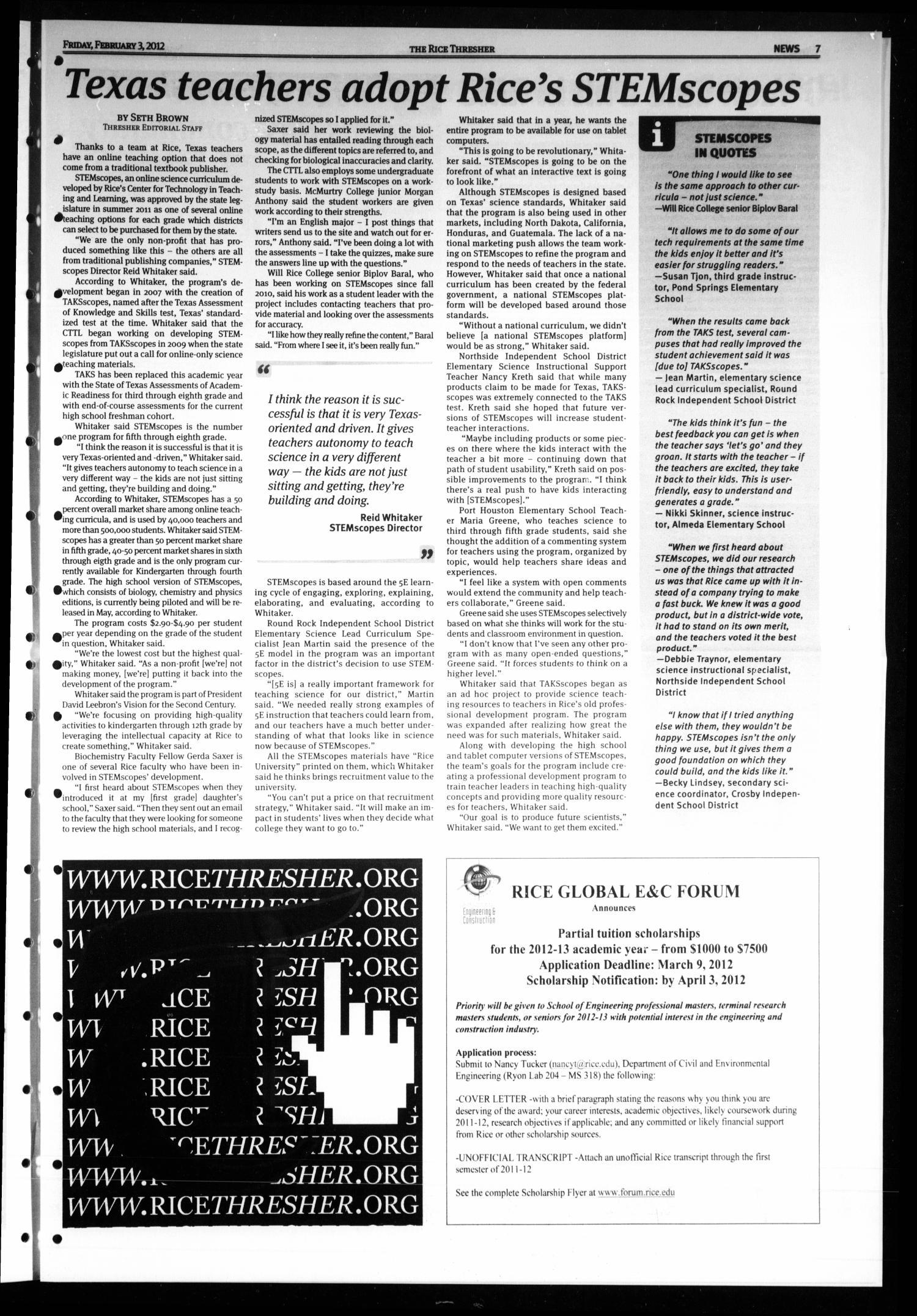 The Rice Thresher, Vol  99, No  18, Ed  1 Friday, February 3