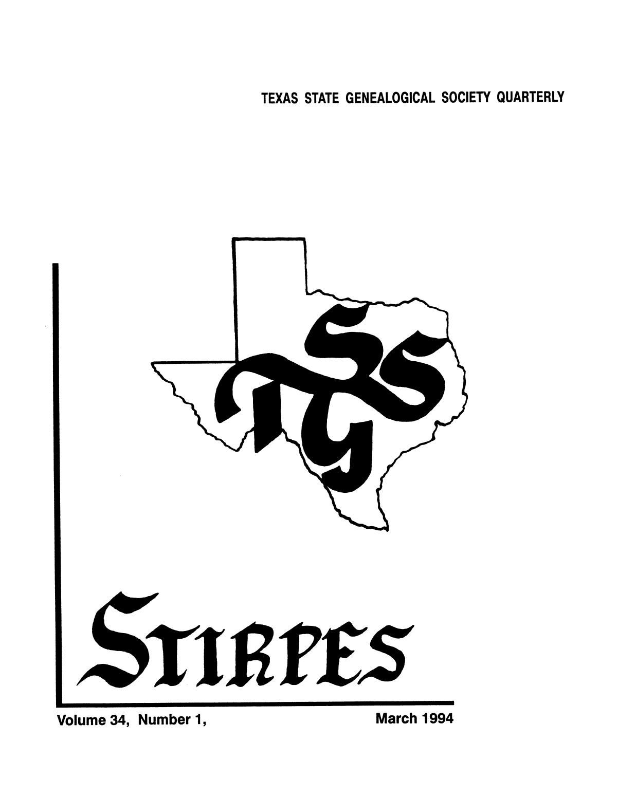 Stirpes, Volume 34, Number 1, March 1994                                                                                                      Front Cover