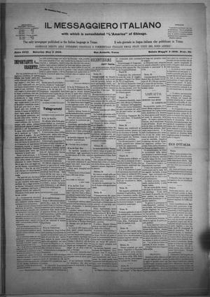 Primary view of Il Messaggiero Italiano (San Antonio, Tex.), Vol. 18, No. 34, Ed. 1 Saturday, May 2, 1908