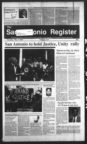 Primary view of object titled 'San Antonio Register (San Antonio, Tex.), Vol. 61, No. 1, Ed. 1 Thursday, May 7, 1992'.