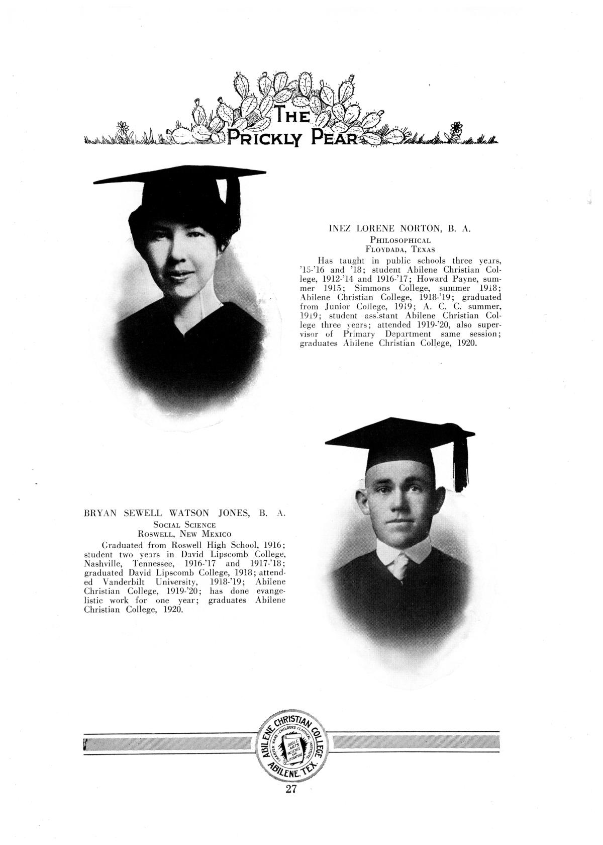 Prickly Pear, Yearbook of Abilene Christian College, 1920                                                                                                      27