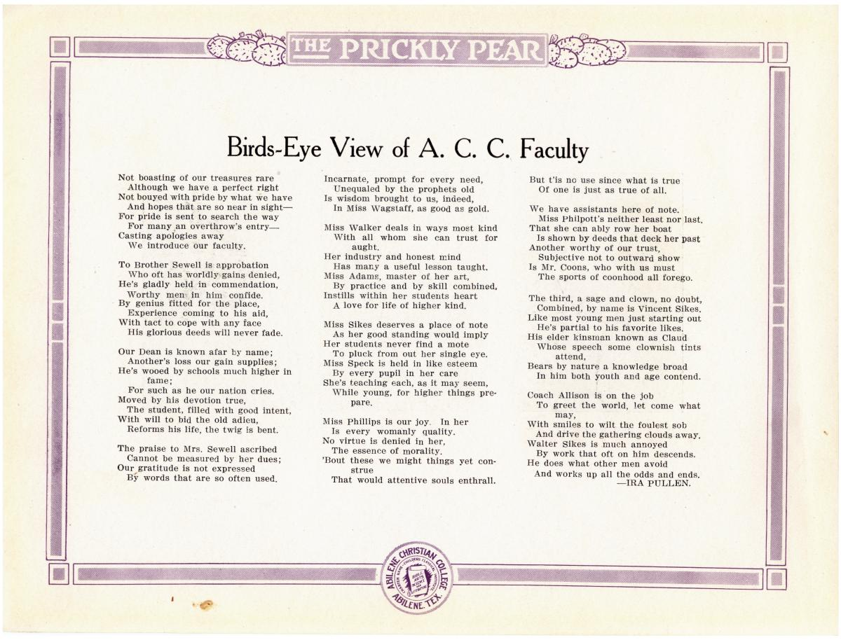 Prickly Pear, Yearbook of Abilene Christian College, 1916                                                                                                      15