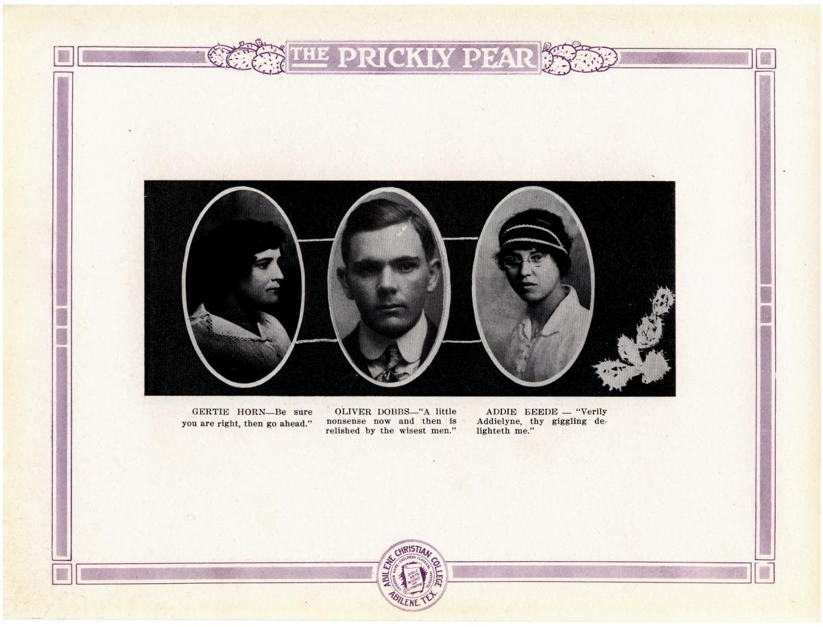 Prickly Pear, Yearbook of Abilene Christian College, 1916                                                                                                      27