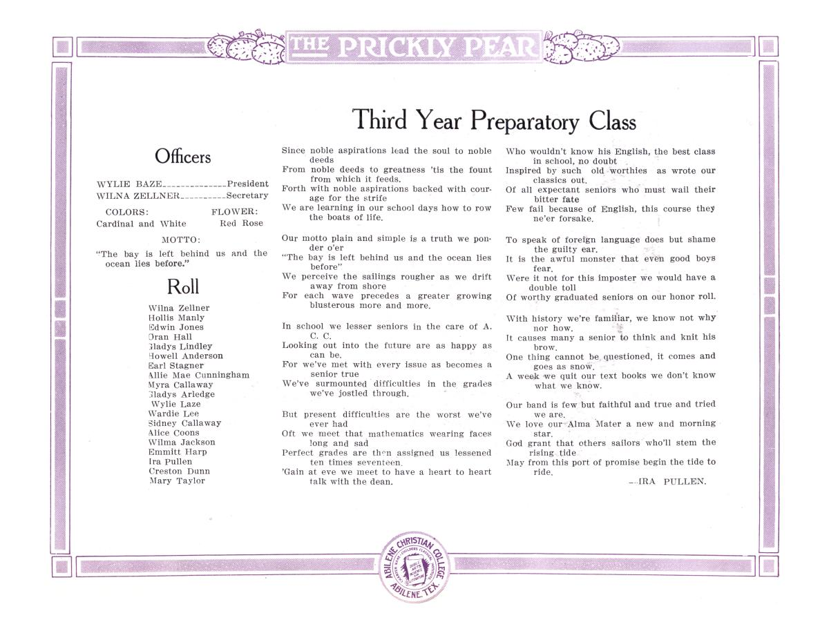Prickly Pear, Yearbook of Abilene Christian College, 1916                                                                                                      40