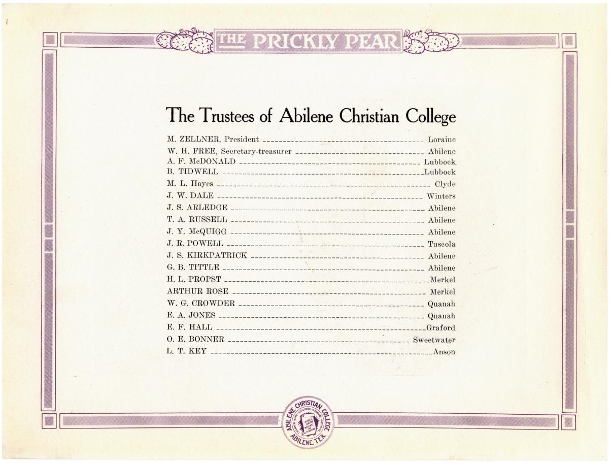 Prickly Pear, Yearbook of Abilene Christian College, 1916                                                                                                      6