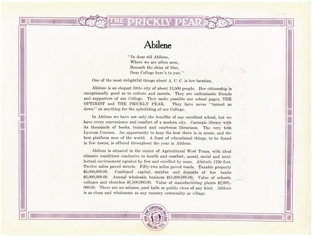 Prickly Pear, Yearbook of Abilene Christian College, 1916                                                                                                      74