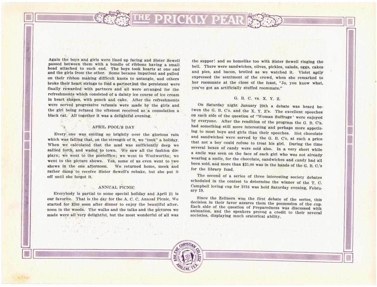 Prickly Pear, Yearbook of Abilene Christian College, 1916                                                                                                      81