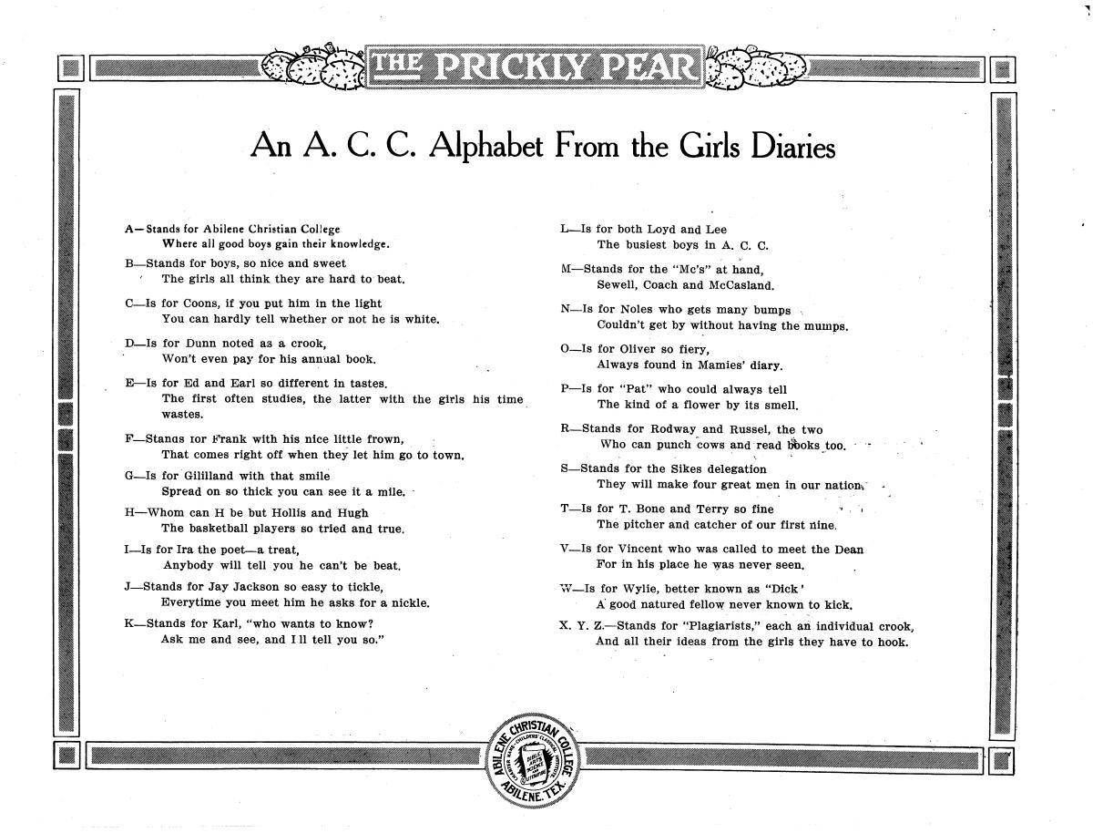 Prickly Pear, Yearbook of Abilene Christian College, 1916                                                                                                      98