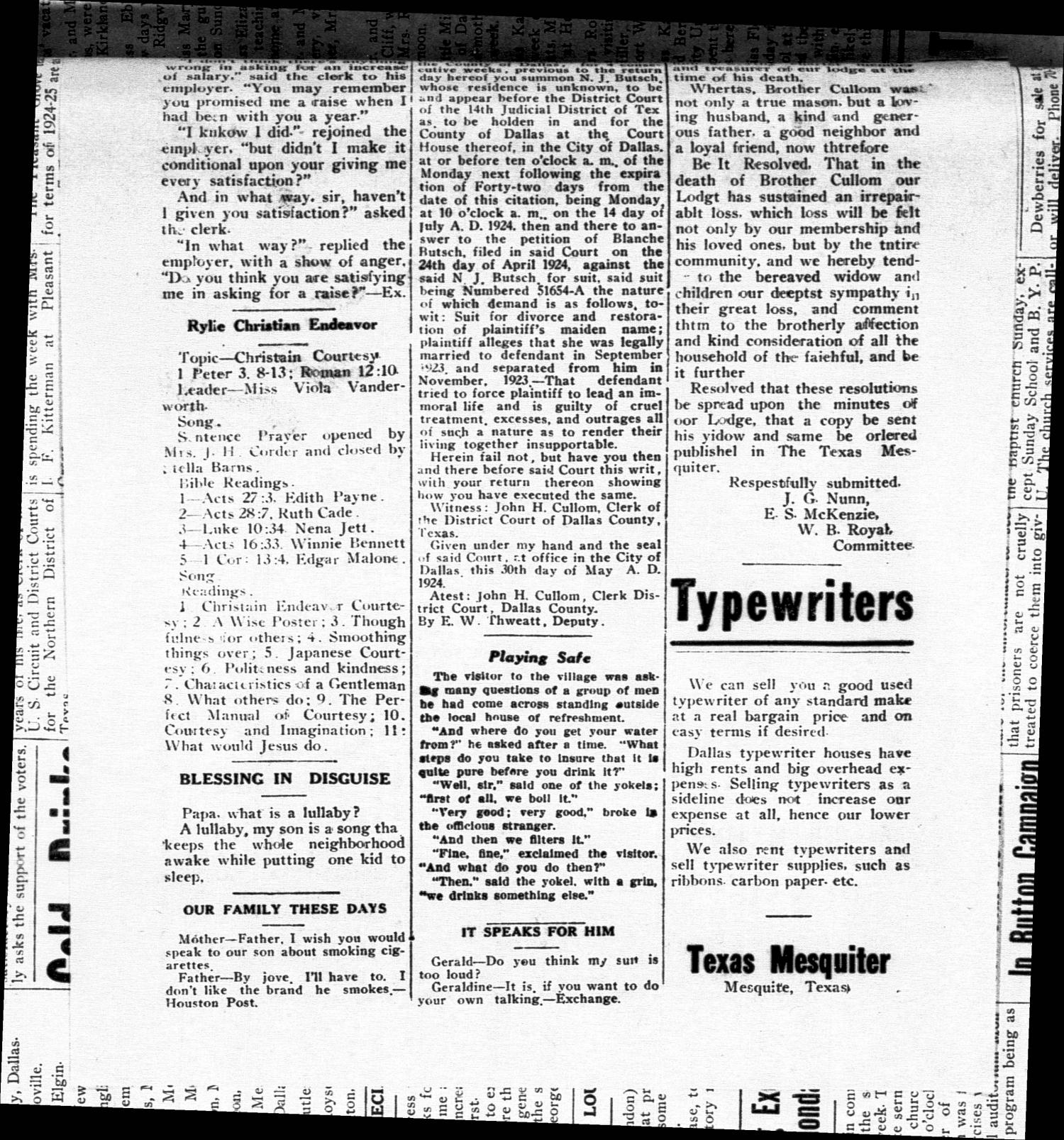 The Texas Mesquiter. (Mesquite, Tex.), Vol. 42, No. 45, Ed. 1 Friday, June 6, 1924                                                                                                      [Sequence #]: 4 of 6