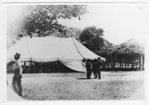 Primary view of object titled '[Men Outside a Large Tent]'.