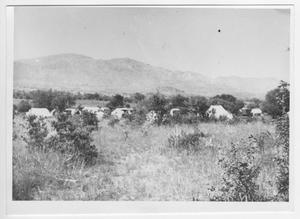 Primary view of object titled '[Photograph of Tents at Bloys Campground]'.
