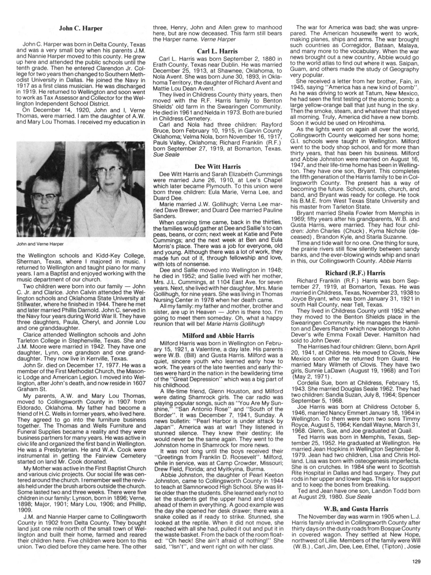 Collingsworth County 1890 1984 Page 129 The Portal To Texas History