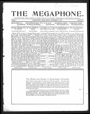 Primary view of object titled 'The Megaphone (Georgetown, Tex.), Vol. 4, No. 13, Ed. 1 Friday, December 16, 1910'.