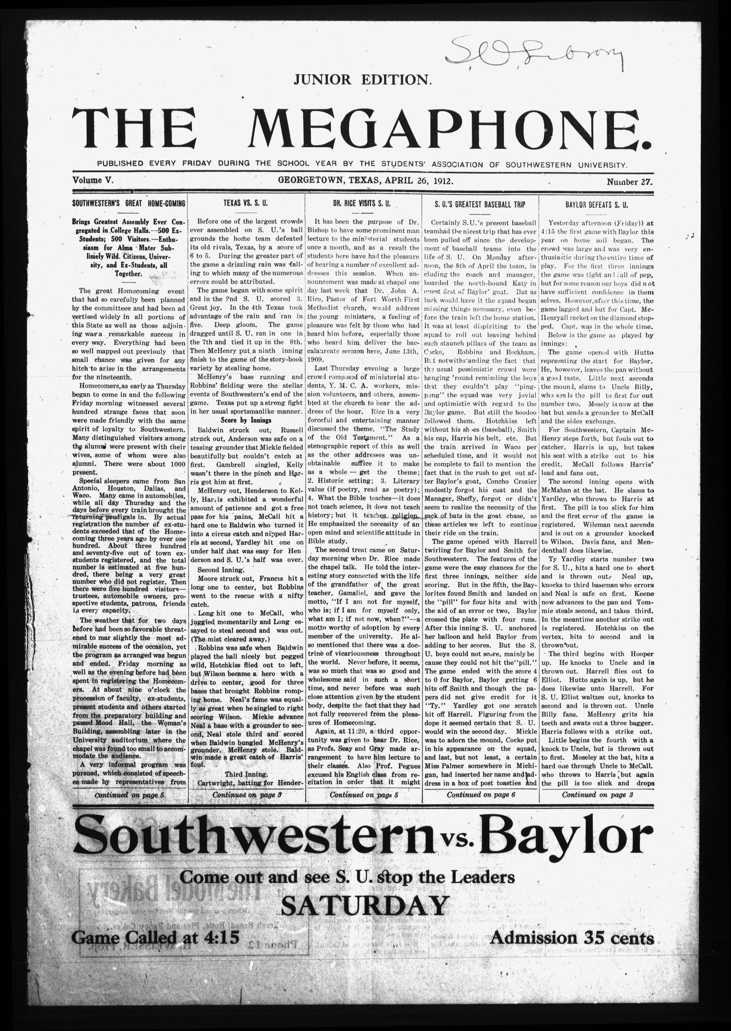 The Megaphone (Georgetown, Tex.), Vol. 5, No. 27, Ed. 1 Friday, April 26, 1912                                                                                                      [Sequence #]: 1 of 6
