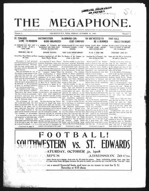 Primary view of object titled 'The Megaphone (Georgetown, Tex.), Vol. 2, No. 5, Ed. 1 Friday, October 30, 1908'.