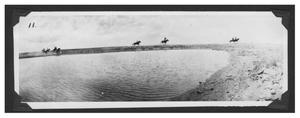 Primary view of object titled '[Riders at a Dam]'.