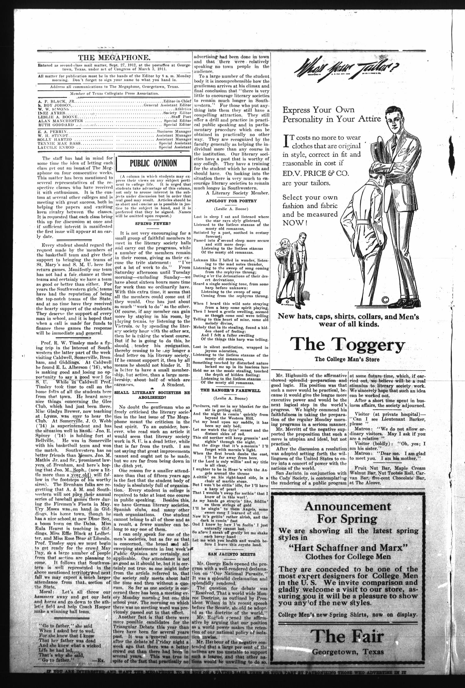 The Megaphone (Georgetown, Tex.), Vol. 10, No. 19, Ed. 1 Tuesday, February 27, 1917                                                                                                      [Sequence #]: 2 of 4
