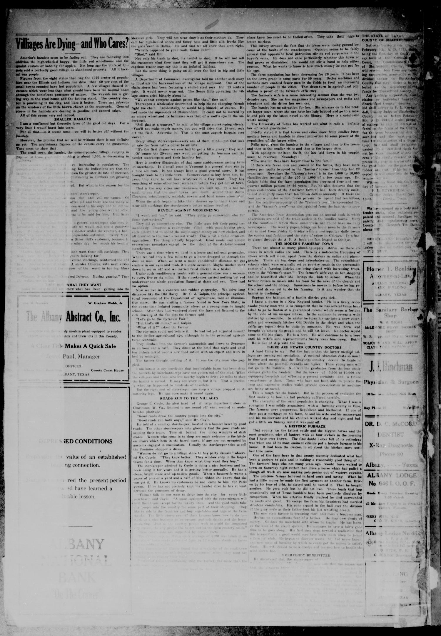 The Albany News (Albany, Tex.), Vol. 46, No. 15, Ed. 1 Friday, January 16, 1931                                                                                                      [Sequence #]: 2 of 8