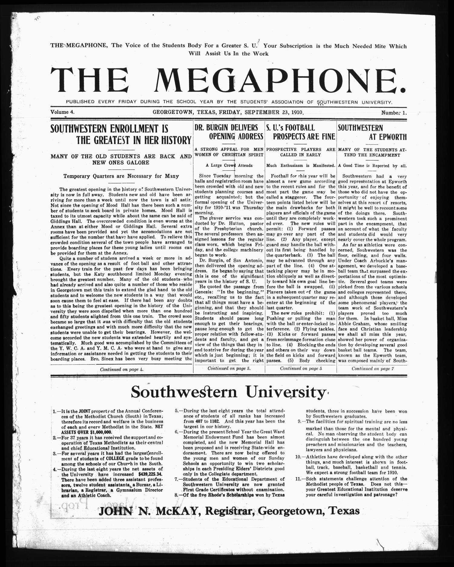 The Megaphone (Georgetown, Tex.), Vol. 4, No. 1, Ed. 1 Friday, September 23, 1910                                                                                                      [Sequence #]: 1 of 8