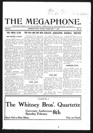 Primary view of object titled 'The Megaphone (Georgetown, Tex.), Vol. 1, No. 18, Ed. 1 Friday, February 7, 1908'.
