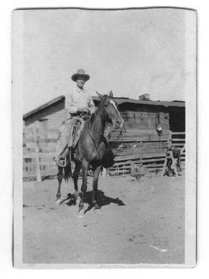 Primary view of object titled '[Photograph of Gus Bogel on Horseback]'.