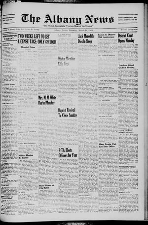 Primary view of object titled 'The Albany News (Albany, Tex.), Vol. 70, No. 27, Ed. 1 Thursday, March 18, 1954'.