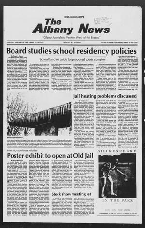 Primary view of object titled 'The Albany News (Albany, Tex.), Vol. 112, No. 31, Ed. 1 Thursday, January 14, 1988'.