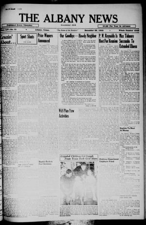 Primary view of object titled 'The Albany News (Albany, Tex.), Vol. 54, No. 13, Ed. 1 Thursday, December 29, 1938'.