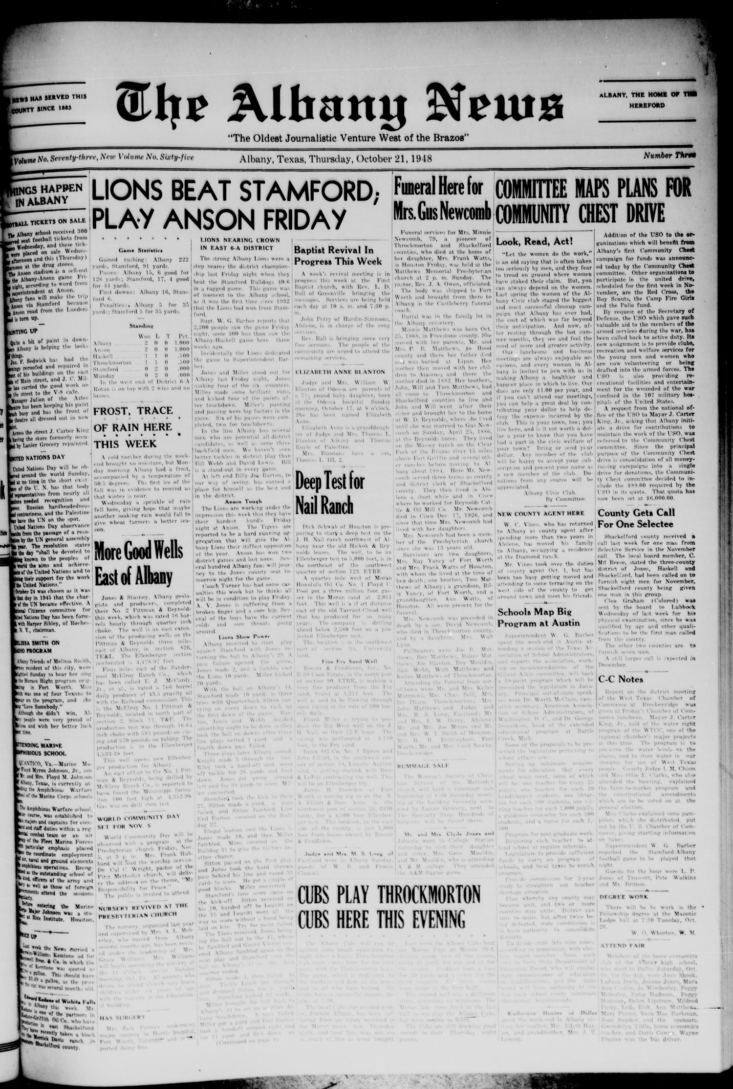 The Albany News (Albany, Tex.), Vol. 65, No. 3, Ed. 1 Thursday, October 21, 1948                                                                                                      [Sequence #]: 1 of 8