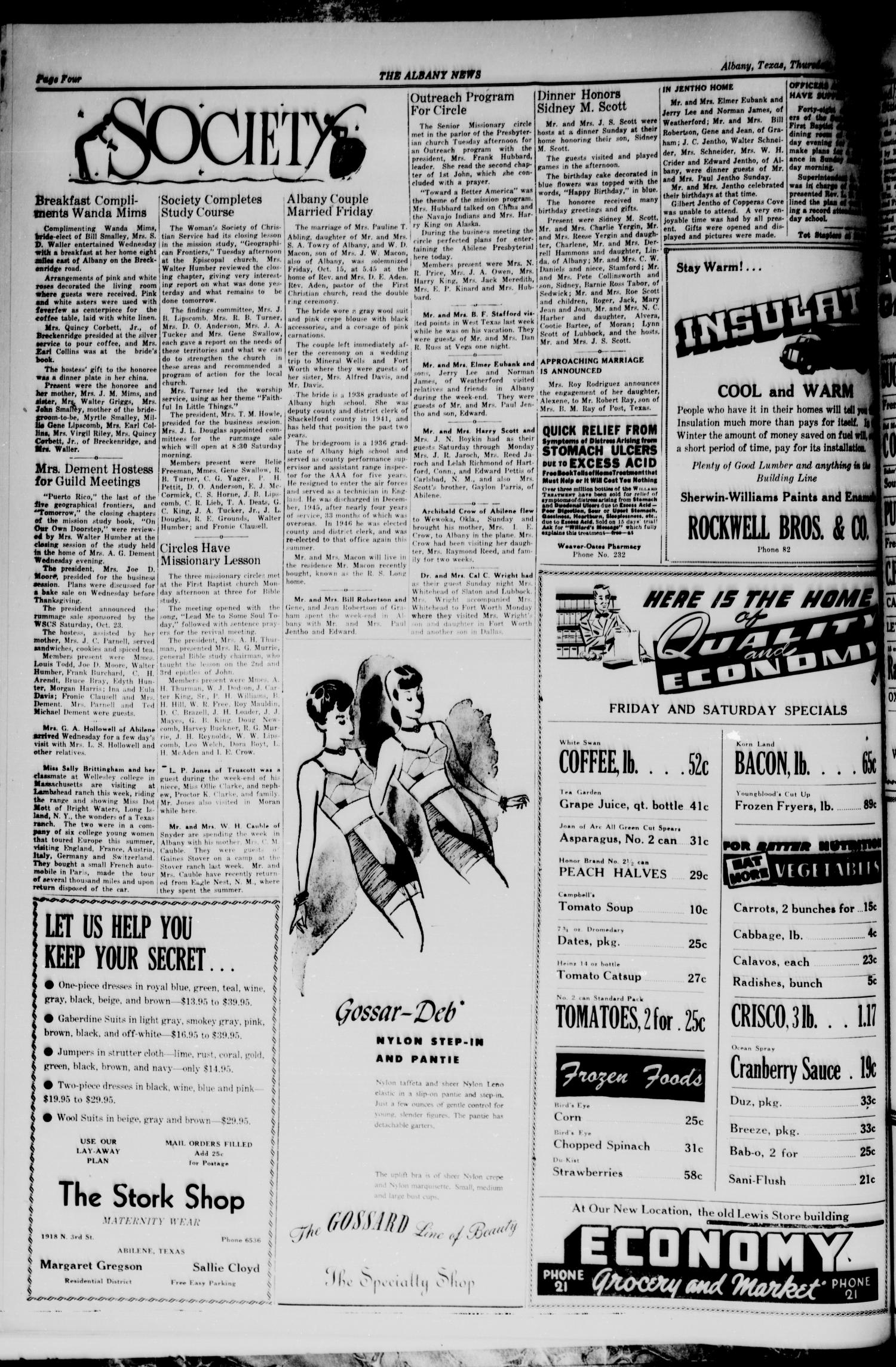 The Albany News (Albany, Tex.), Vol. 65, No. 3, Ed. 1 Thursday, October 21, 1948                                                                                                      [Sequence #]: 4 of 8
