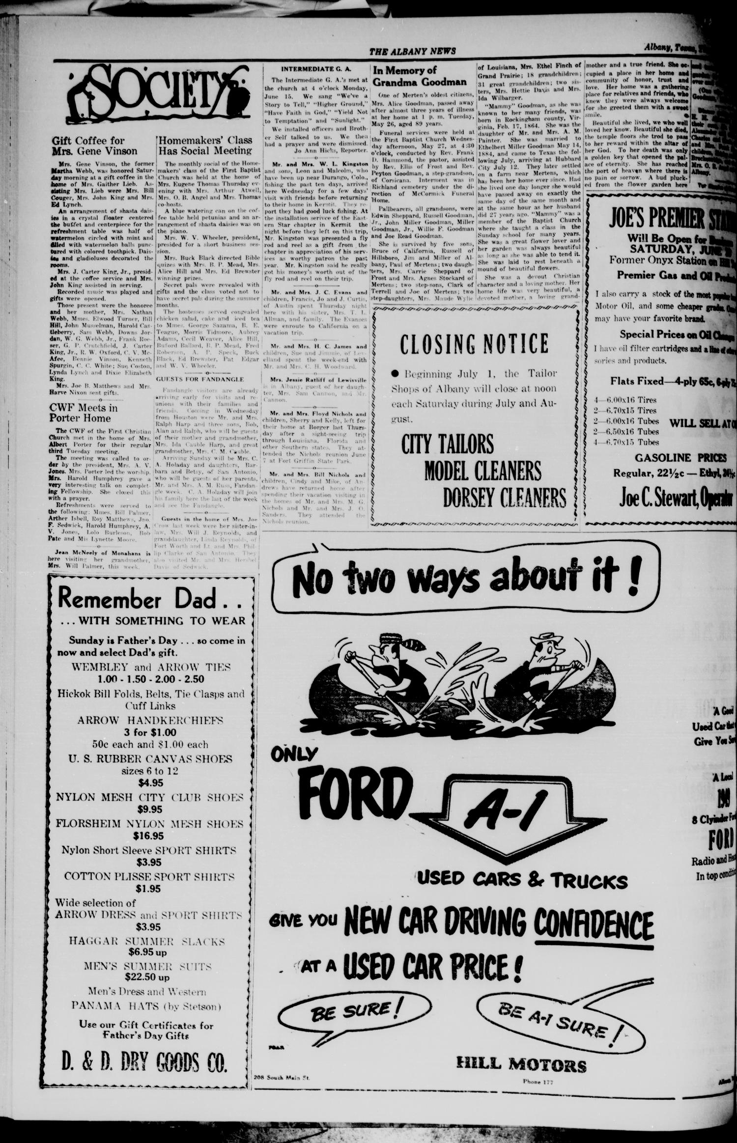 The Albany News (Albany, Tex.), Vol. 69, No. 39, Ed. 1 Thursday, June 18, 1953                                                                                                      [Sequence #]: 4 of 10