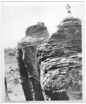 Primary view of object titled '[Photograph of Woman on a Rock in Davis Mountain State Park]'.