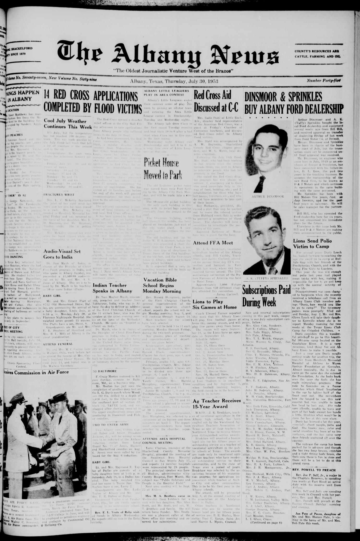 The Albany News (Albany, Tex.), Vol. 69, No. 45, Ed. 1 Thursday, July 30, 1953                                                                                                      [Sequence #]: 1 of 8