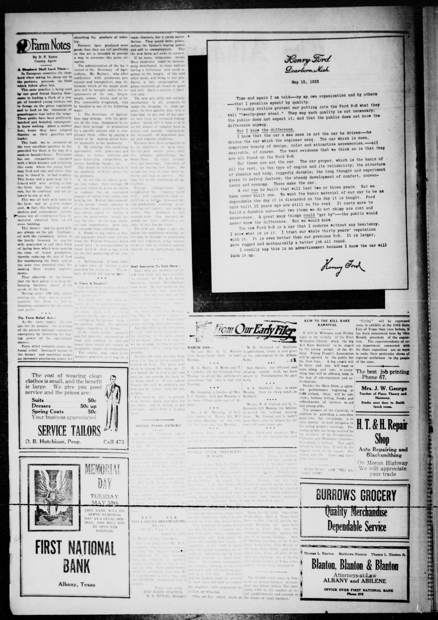 The Albany News (Albany, Tex.), Vol. 48, No. 34, Ed. 1 Friday, May 26, 1933                                                                                                      [Sequence #]: 2 of 8