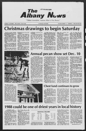 Primary view of object titled 'The Albany News (Albany, Tex.), Vol. 113, No. 25, Ed. 1 Thursday, December 1, 1988'.