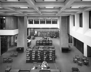 Primary view of object titled '[Library From Above]'.