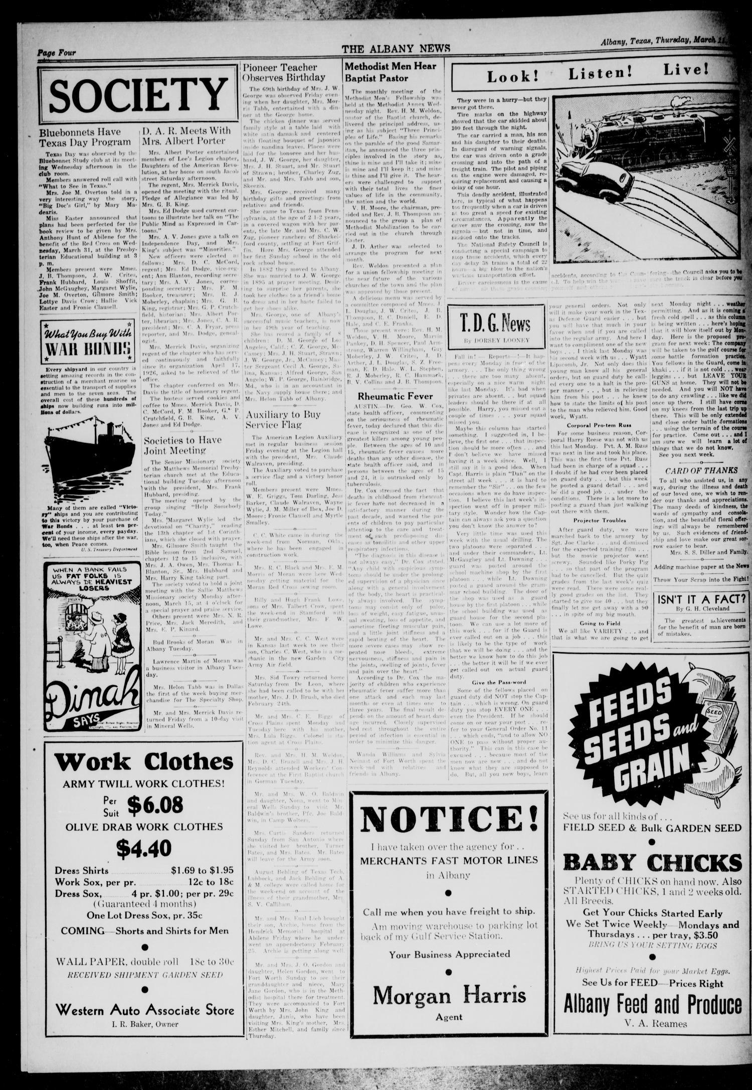 The Albany News Albany Tex Vol  Ed  Thursday March   Of  The Portal To Texas History