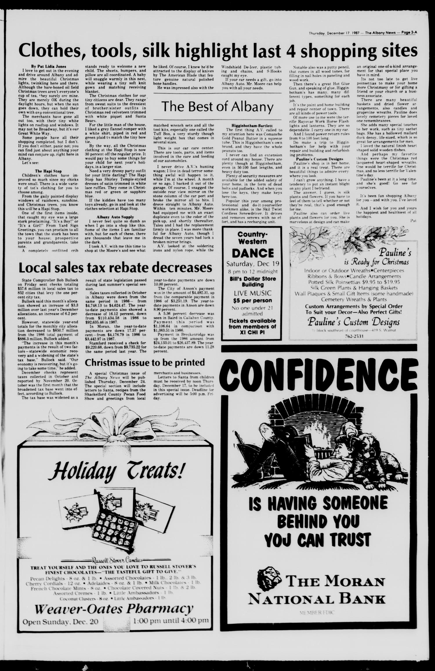 The Albany News (Albany, Tex.), Vol. 112, No. 27, Ed. 1 Thursday, December 17, 1987                                                                                                      [Sequence #]: 3 of 34