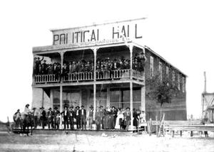Primary view of object titled '[Gathering at political hall]'.
