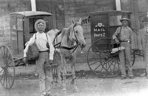 Primary view of object titled '[Round Rock Post office Mail Carriers with buggy]'.