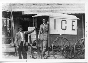 Primary view of object titled '[Horse drawn ice wagon in Round Rock]'.