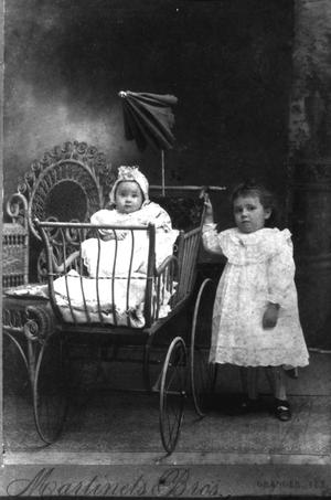 Primary view of object titled '[Child in pram]'.
