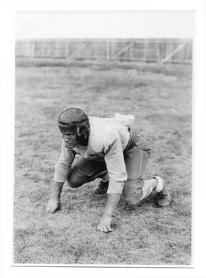 Primary view of object titled '[West Texas State Normal College football player]'.