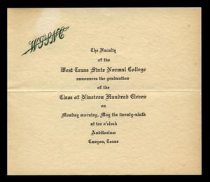 Primary view of object titled '[West Texas State Normal College commencement announcement]'.
