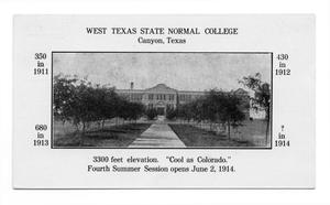 Primary view of object titled 'West Texas State Normal College, Canyon, Texas'.