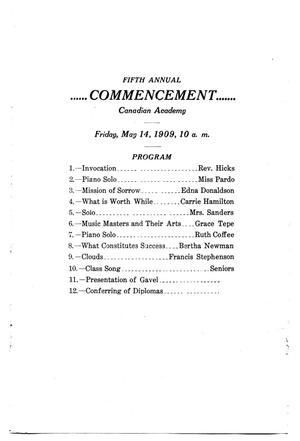 Primary view of object titled 'Fifth annual commencement, Canadian Academy'.