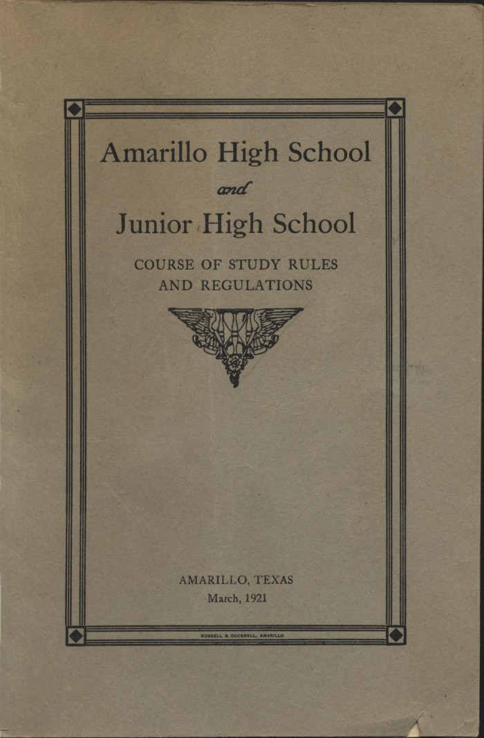 Amarillo High School and Junior High School : course of study rules and  regulations