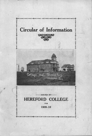 Primary view of object titled 'Circular of information issued by Hereford College for 1909-10'.