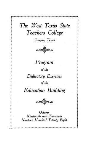 Primary view of object titled 'Program of the dedicatory exercises of the education building'.
