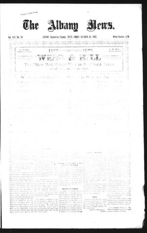 Primary view of object titled 'The Albany News. (Albany, Tex.), Vol. 25, No. 24, Ed. 1 Friday, October 30, 1908'.